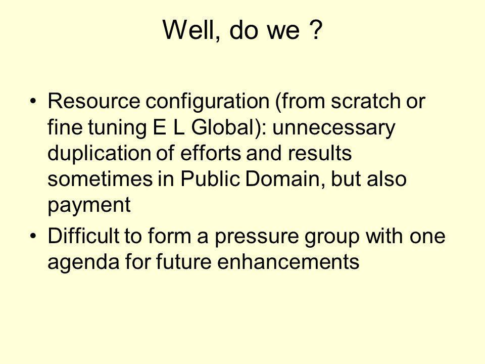Well, do we ? Resource configuration (from scratch or fine tuning E L Global): unnecessary duplication of efforts and results sometimes in Public Doma