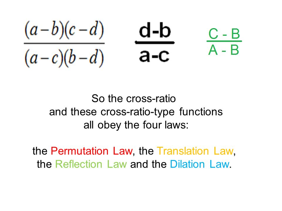So the cross-ratio and these cross-ratio-type functions all obey the four laws: the Permutation Law, the Translation Law, the Reflection Law and the Dilation Law.