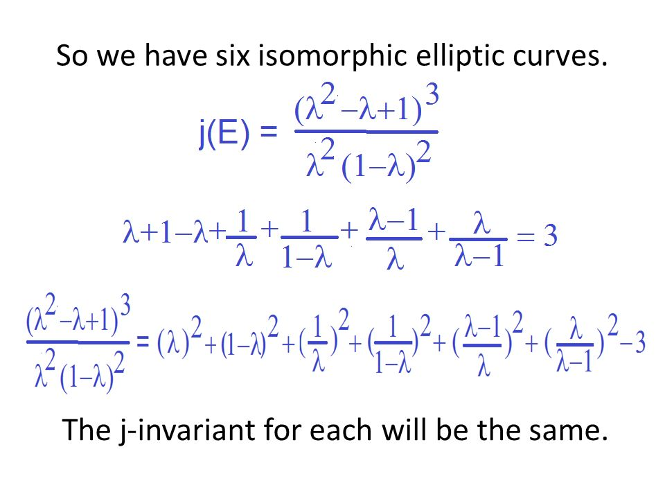 So we have six isomorphic elliptic curves. The j-invariant for each will be the same.