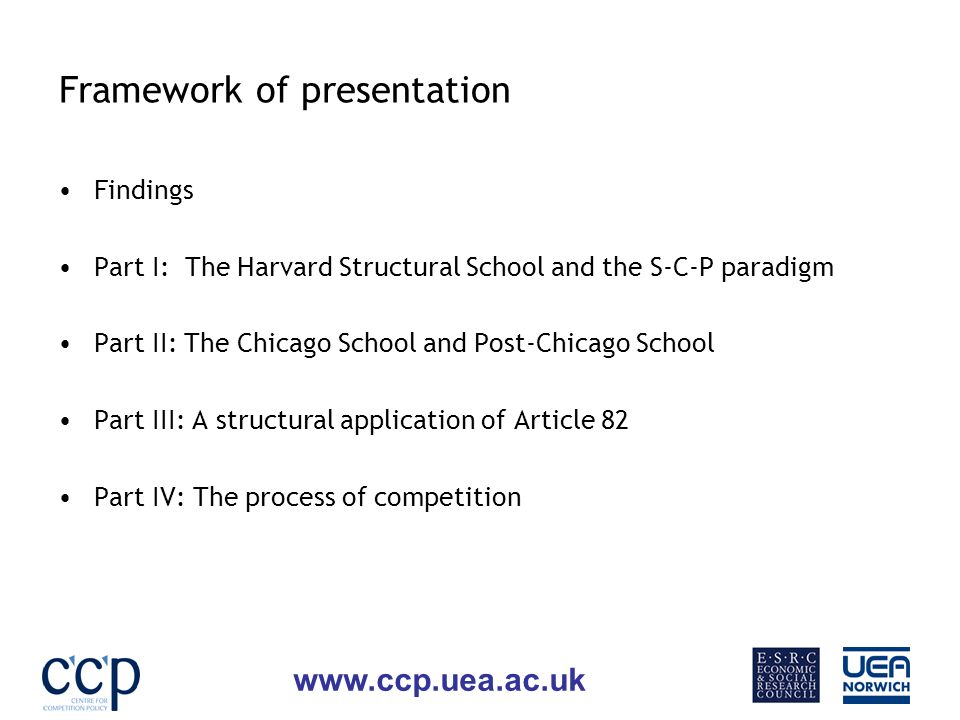www.ccp.uea.ac.uk Framework of presentation Findings Part I: The Harvard Structural School and the S-C-P paradigm Part II: The Chicago School and Post-Chicago School Part III: A structural application of Article 82 Part IV: The process of competition
