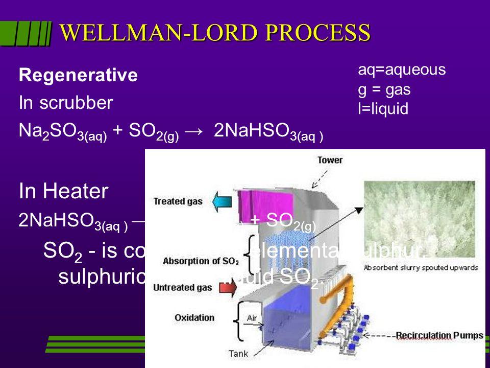 WELLMAN-LORD PROCESS Regenerative In scrubber Na 2 SO 3(aq) + SO 2(g) 2NaHSO 3(aq ) In Heater 2NaHSO 3(aq ) Na 2 SO 3(aq) + SO 2(g) SO 2 - is converte