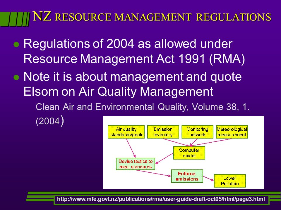 NZ RESOURCE MANAGEMENT REGULATIONS l Regulations of 2004 as allowed under Resource Management Act 1991 (RMA) l Note it is about management and quote Elsom on Air Quality Management Clean Air and Environmental Quality, Volume 38, 1.