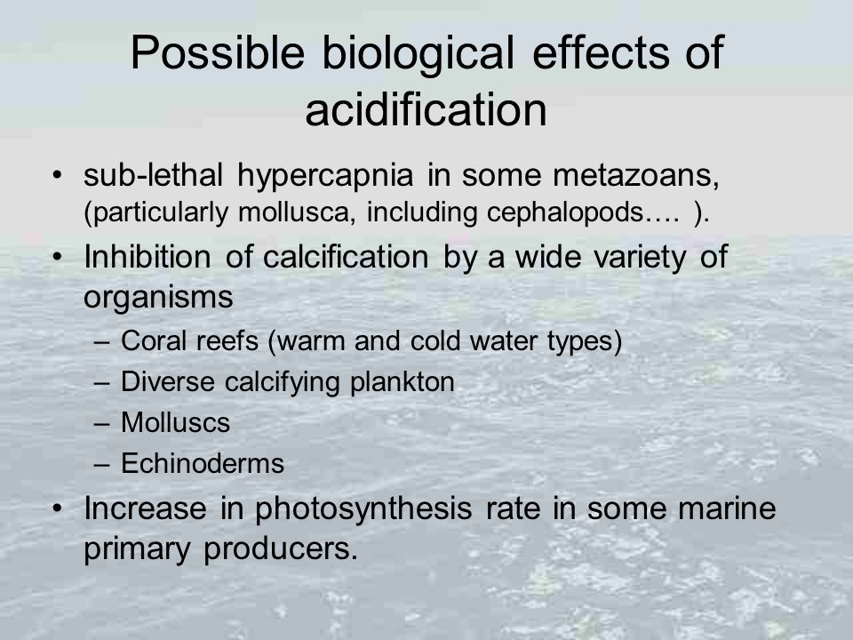 Possible biological effects of acidification sub-lethal hypercapnia in some metazoans, (particularly mollusca, including cephalopods…. ). Inhibition o