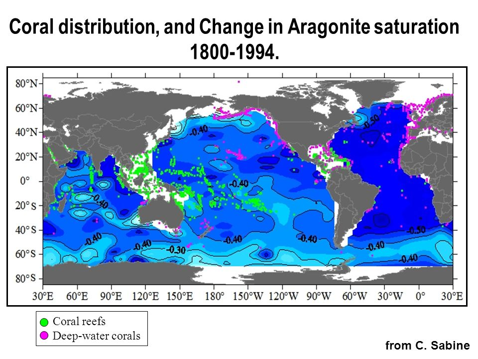Coral distribution, and Change in Aragonite saturation 1800-1994. Coral reefs Deep-water corals from C. Sabine