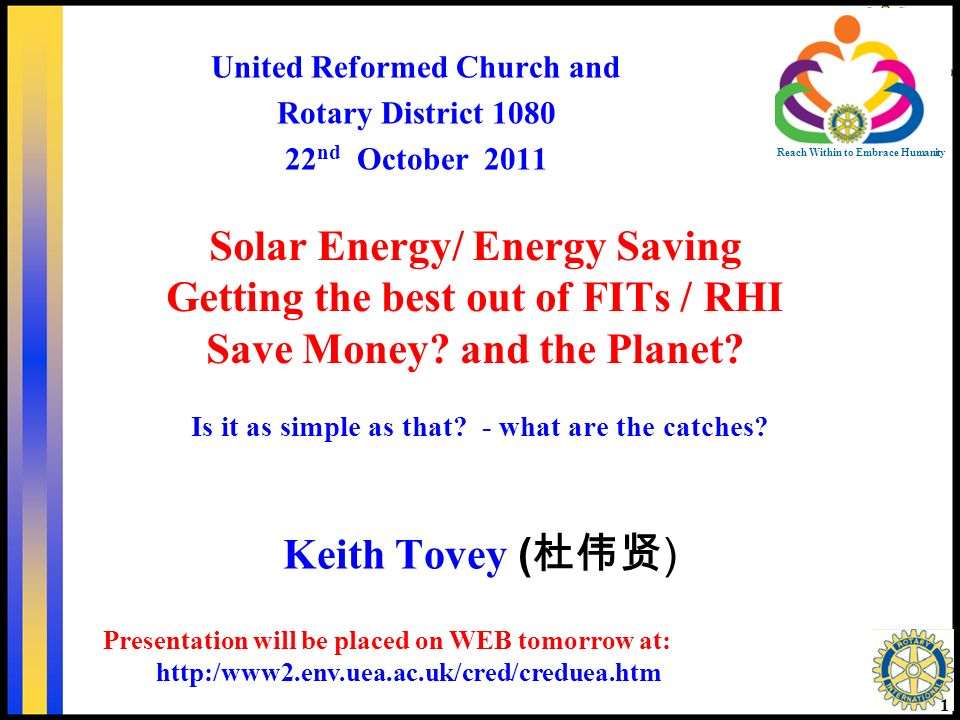 Solar Energy/ Energy Saving Getting the best out of FITs / RHI Save Money.