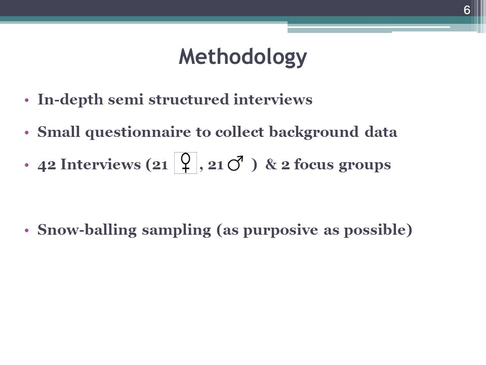 6 Methodology In-depth semi structured interviews Small questionnaire to collect background data 42 Interviews (21, 21 ) & 2 focus groups Snow-balling sampling (as purposive as possible)