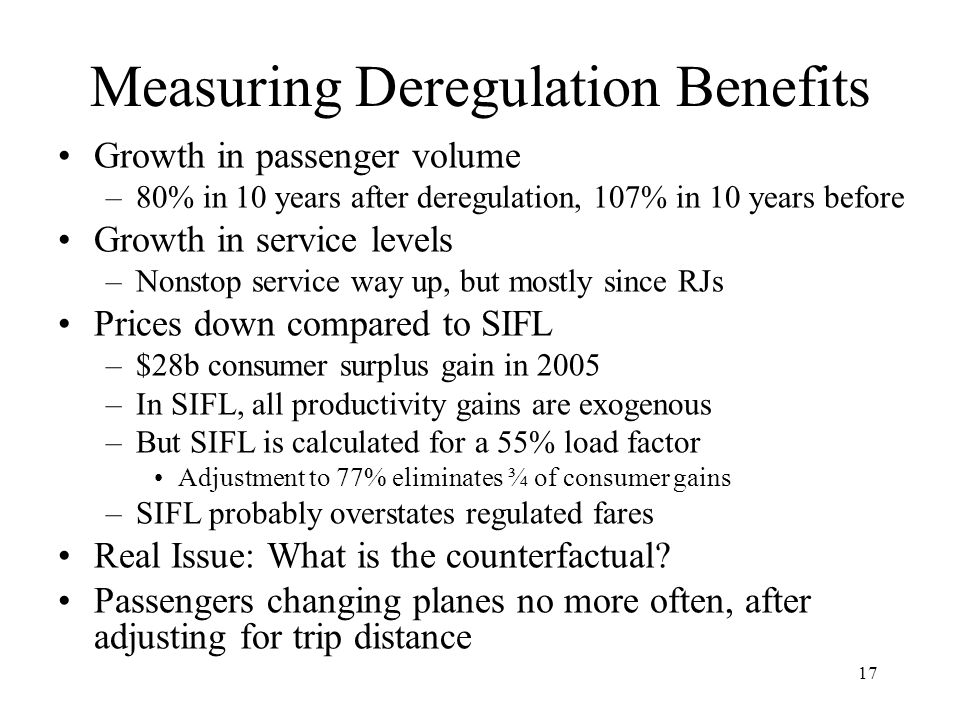 17 Measuring Deregulation Benefits Growth in passenger volume –80% in 10 years after deregulation, 107% in 10 years before Growth in service levels –Nonstop service way up, but mostly since RJs Prices down compared to SIFL –$28b consumer surplus gain in 2005 –In SIFL, all productivity gains are exogenous –But SIFL is calculated for a 55% load factor Adjustment to 77% eliminates ¾ of consumer gains –SIFL probably overstates regulated fares Real Issue: What is the counterfactual.