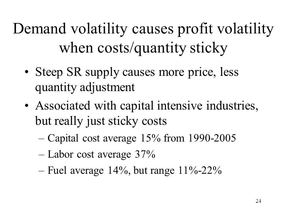 24 Demand volatility causes profit volatility when costs/quantity sticky Steep SR supply causes more price, less quantity adjustment Associated with capital intensive industries, but really just sticky costs –Capital cost average 15% from 1990-2005 –Labor cost average 37% –Fuel average 14%, but range 11%-22%