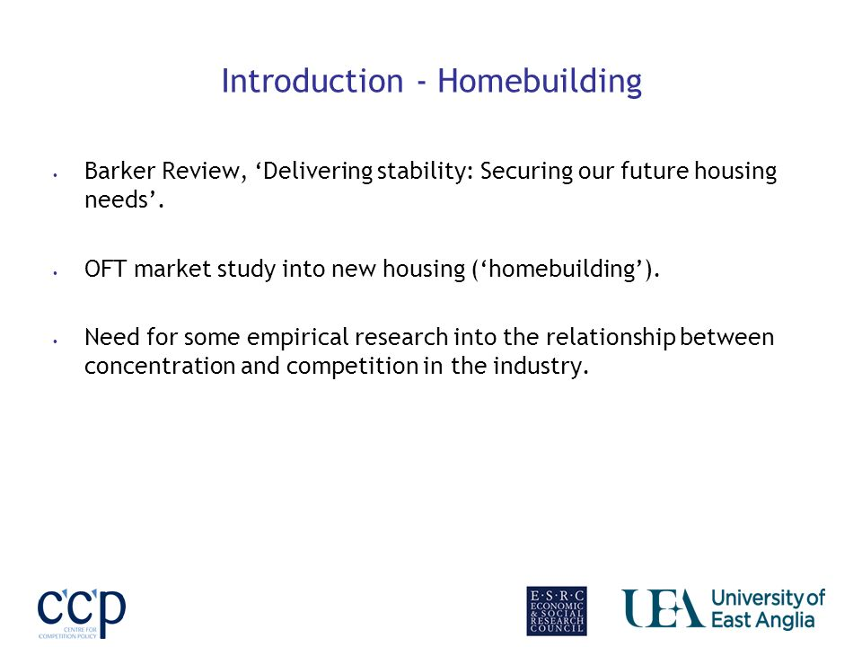 Introduction - Homebuilding Barker Review, Delivering stability: Securing our future housing needs.