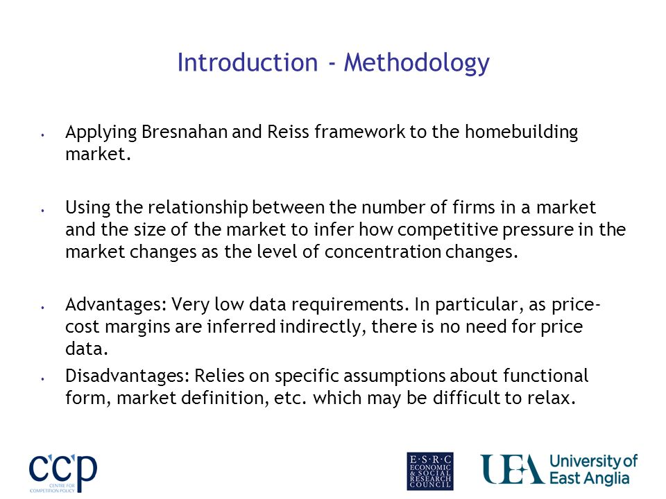 Introduction - Methodology Applying Bresnahan and Reiss framework to the homebuilding market.