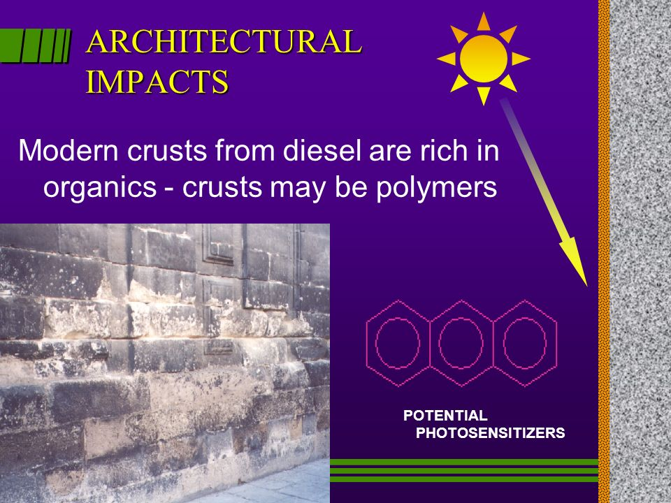 ARCHITECTURAL IMPACTS Modern crusts from diesel are rich in organics - crusts may be polymers POTENTIAL PHOTOSENSITIZERS