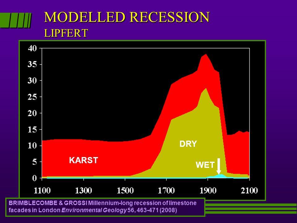 MODELLED RECESSION LIPFERT μm/year PREDICTED KARST WET DRY BRIMBLECOMBE & GROSSI Millennium-long recession of limestone facades in London Environmenta