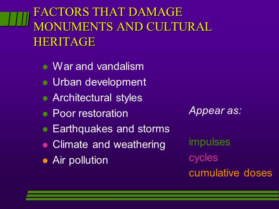 FACTORS THAT DAMAGE MONUMENTS AND CULTURAL HERITAGE l War and vandalism l Urban development l Architectural styles l Poor restoration l Earthquakes an