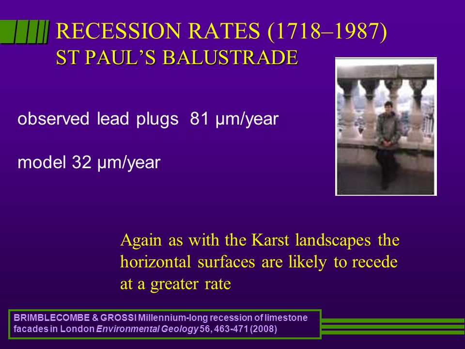 ST PAULS BALUSTRADE RECESSION RATES (1718–1987) ST PAULS BALUSTRADE observed lead plugs 81 μm/year model 32 μm/year Again as with the Karst landscapes