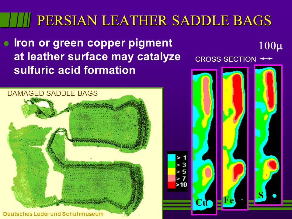 PERSIAN LEATHER SADDLE BAGS l Iron or green copper pigment at leather surface may catalyze sulfuric acid formation CuFe S CROSS-SECTION DAMAGED SADDLE