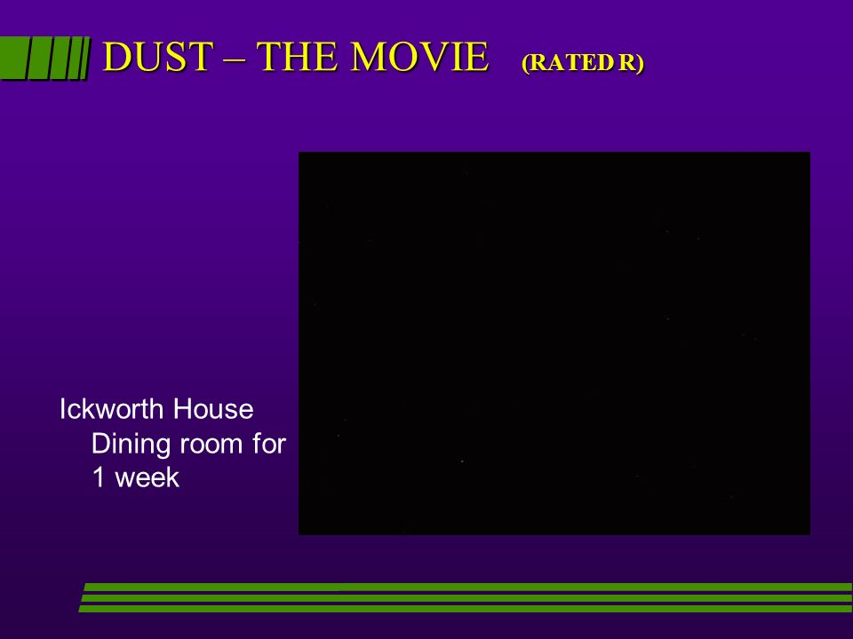 DUST – THE MOVIE (RATED R) Ickworth House Dining room for 1 week