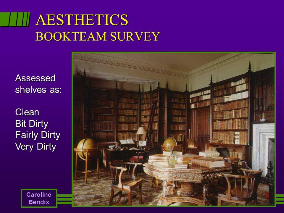 AESTHETICS BOOKTEAM SURVEY Assessed shelves as: Clean Bit Dirty Fairly Dirty Very Dirty Caroline Bendix