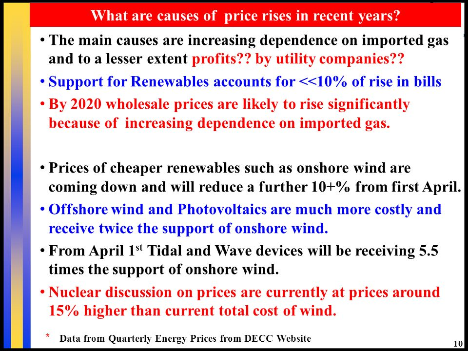 10 What are causes of price rises in recent years? The main causes are increasing dependence on imported gas and to a lesser extent profits?? by utili