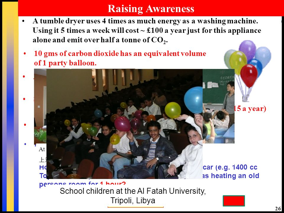 26 Raising Awareness A Toyota Corolla (1400cc): 1 party balloon every 60m. 10 gms of carbon dioxide has an equivalent volume of 1 party balloon. Stand