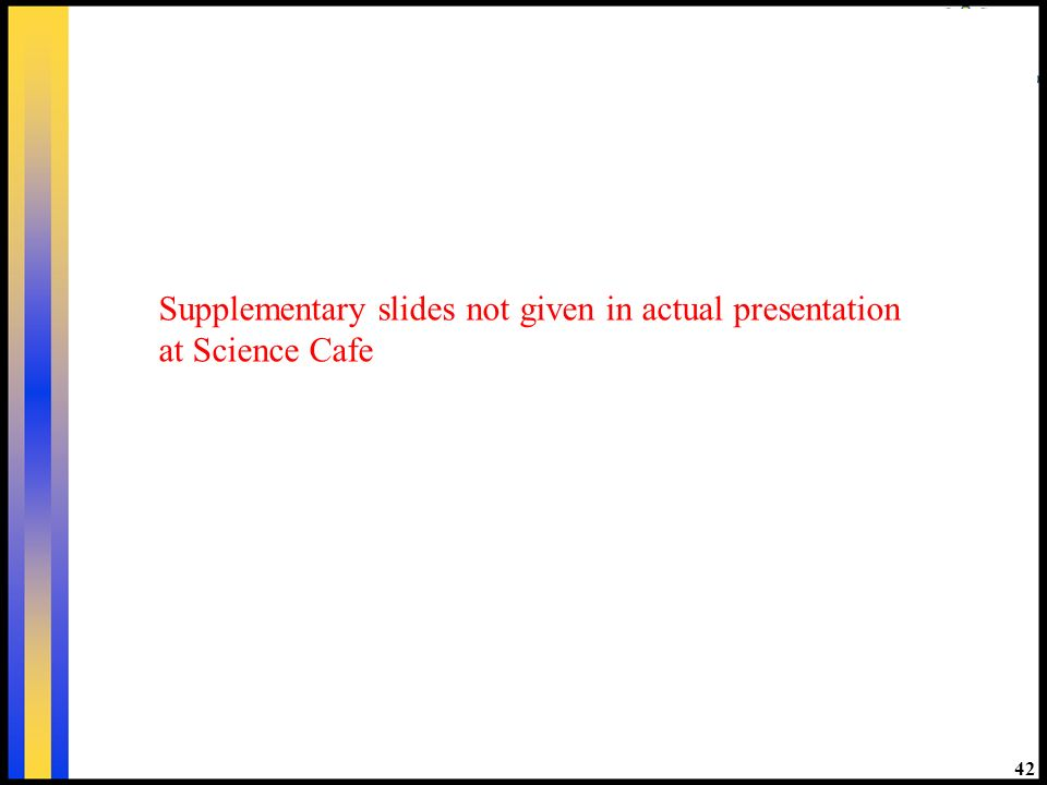 42 Supplementary slides not given in actual presentation at Science Cafe