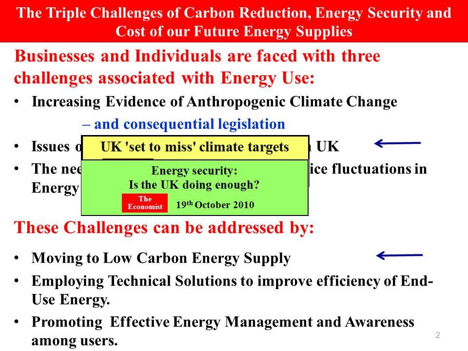 Businesses and Individuals are faced with three challenges associated with Energy Use: Increasing Evidence of Anthropogenic Climate Change – and consequential legislation Issues of Energy Security – particularly in UK The need to minimise cost exposures to price fluctuations in Energy These Challenges can be addressed by: Moving to Low Carbon Energy Supply Employing Technical Solutions to improve efficiency of End- Use Energy.