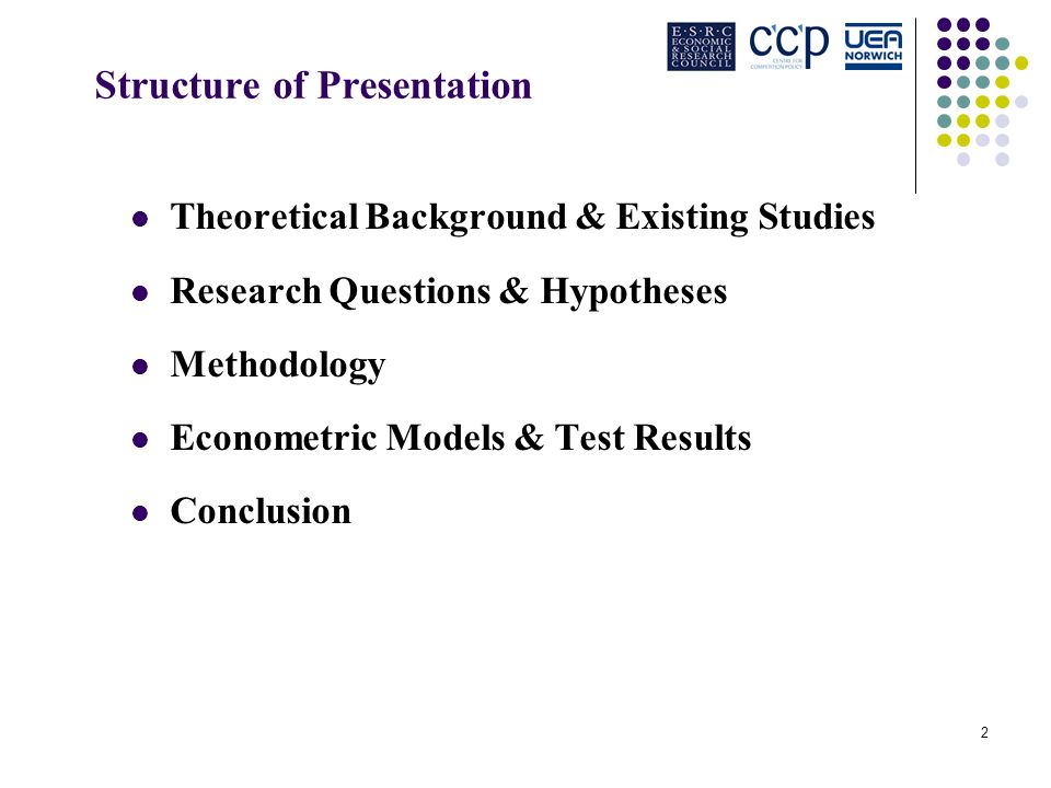 2 Structure of Presentation Theoretical Background & Existing Studies Research Questions & Hypotheses Methodology Econometric Models & Test Results Conclusion