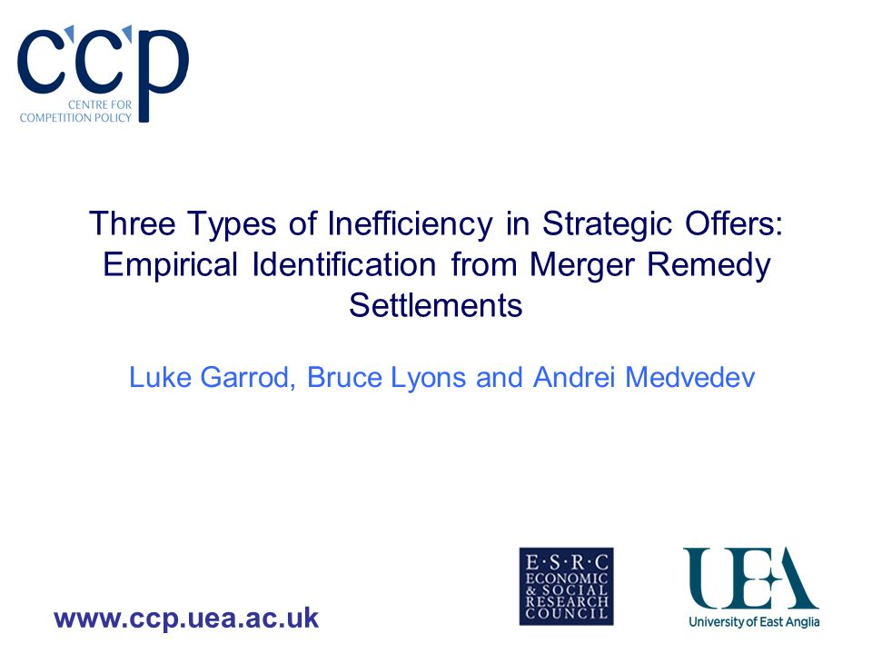 www.ccp.uea.ac.uk Three Types of Inefficiency in Strategic Offers: Empirical Identification from Merger Remedy Settlements Luke Garrod, Bruce Lyons and Andrei Medvedev