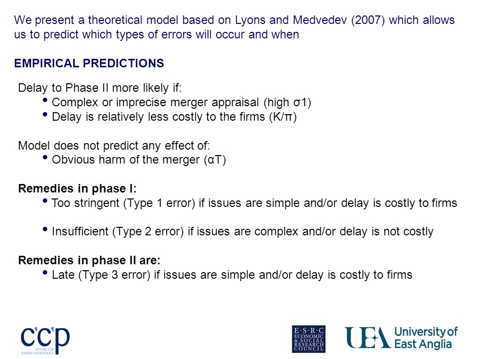 We present a theoretical model based on Lyons and Medvedev (2007) which allows us to predict which types of errors will occur and when EMPIRICAL PREDICTIONS Delay to Phase II more likely if: Complex or imprecise merger appraisal (high σ1) Delay is relatively less costly to the firms (K/π) Model does not predict any effect of: Obvious harm of the merger (αT) Remedies in phase I: Too stringent (Type 1 error) if issues are simple and/or delay is costly to firms Insufficient (Type 2 error) if issues are complex and/or delay is not costly Remedies in phase II are: Late (Type 3 error) if issues are simple and/or delay is costly to firms
