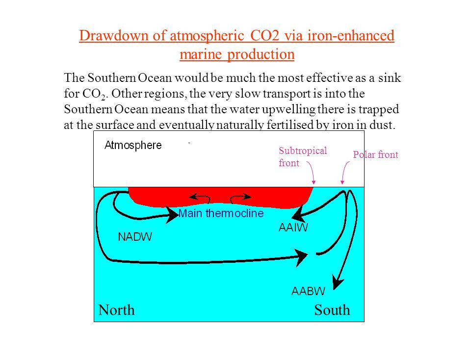 Drawdown of atmospheric CO2 via iron-enhanced marine production The Southern Ocean would be much the most effective as a sink for CO 2.