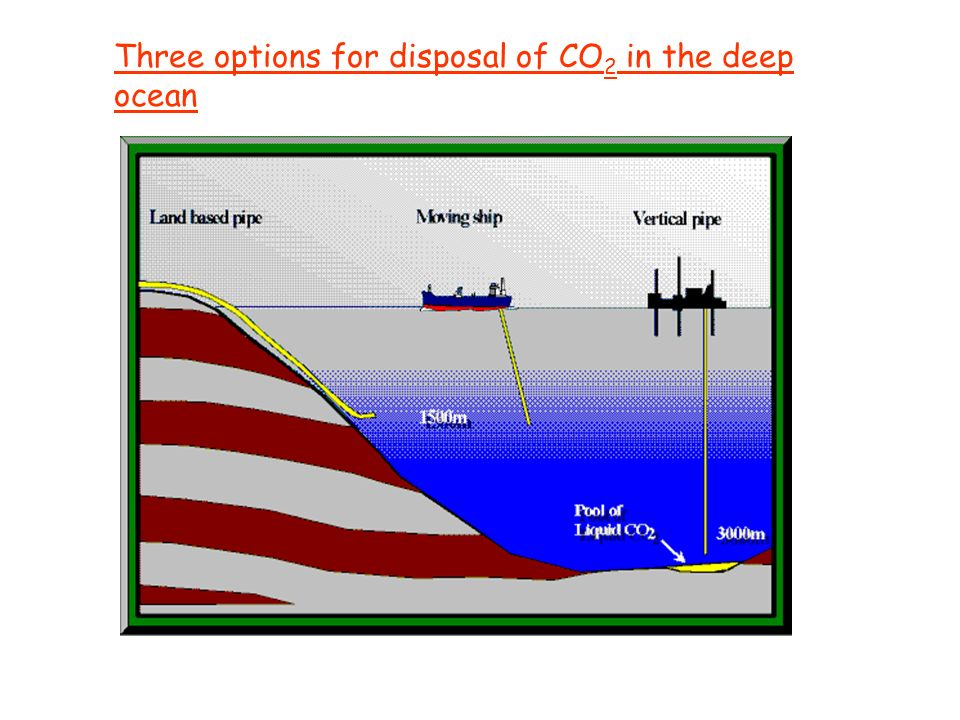 Three options for disposal of CO 2 in the deep ocean