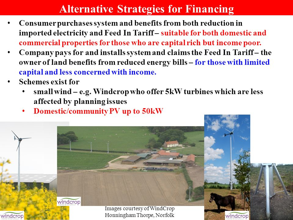 28 Alternative Strategies for Financing Consumer purchases system and benefits from both reduction in imported electricity and Feed In Tariff – suitab