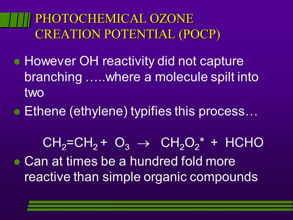 PHOTOCHEMICAL OZONE CREATION POTENTIAL (POCP) l However OH reactivity did not capture branching …..where a molecule spilt into two l Ethene (ethylene) typifies this process… CH 2 =CH 2 + O 3 CH 2 O 2 * + HCHO l Can at times be a hundred fold more reactive than simple organic compounds