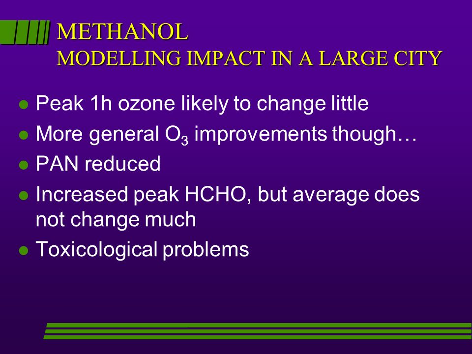 METHANOL MODELLING IMPACT IN A LARGE CITY l Peak 1h ozone likely to change little l More general O 3 improvements though… l PAN reduced l Increased peak HCHO, but average does not change much l Toxicological problems