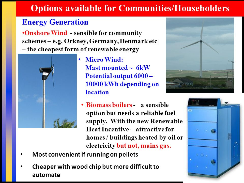 30 Options available for Communities/Householders Energy Generation Onshore Wind - sensible for community schemes – e.g.
