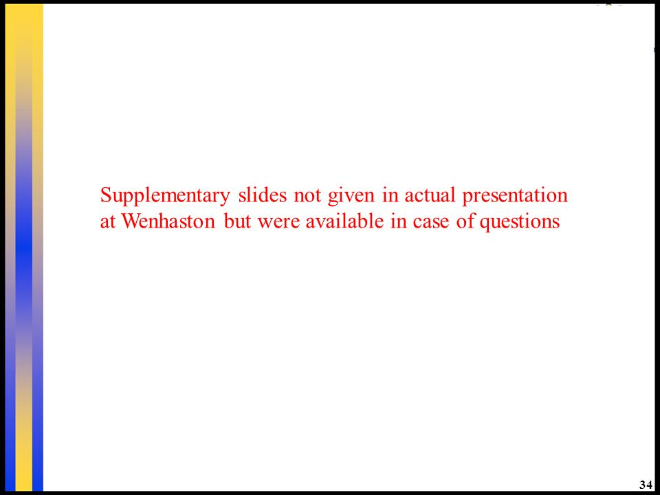 34 Supplementary slides not given in actual presentation at Wenhaston but were available in case of questions
