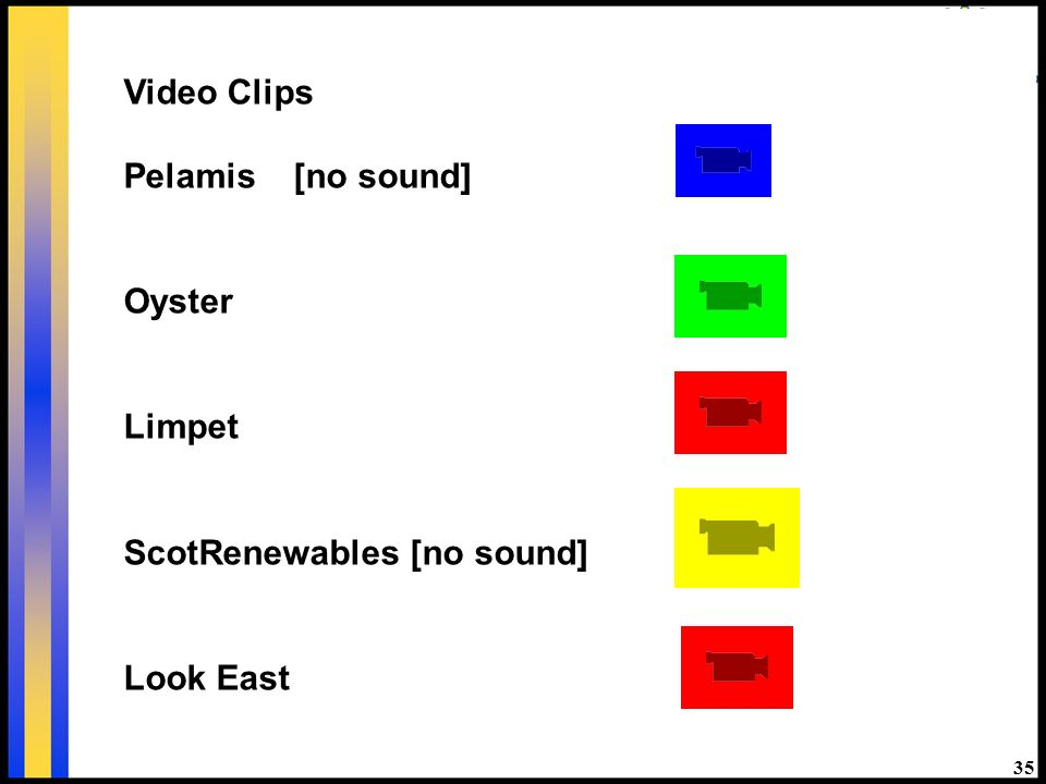 35 Video Clips Pelamis [no sound] Oyster Limpet ScotRenewables [no sound] Look East
