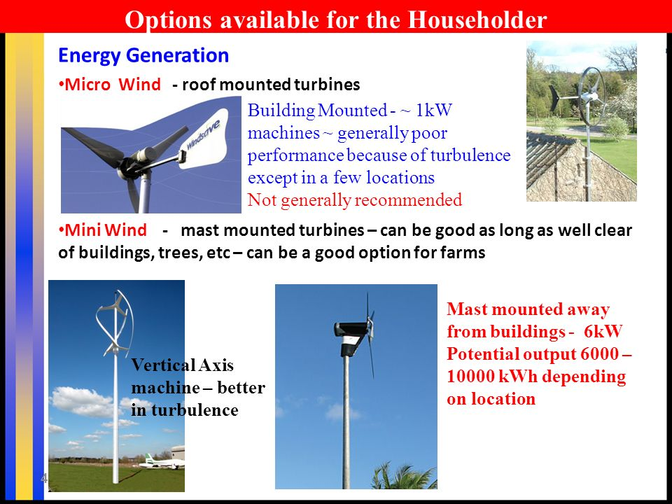 41 Options available for the Householder Energy Generation Micro Wind - roof mounted turbines Mini Wind - mast mounted turbines – can be good as long as well clear of buildings, trees, etc – can be a good option for farms Building Mounted - ~ 1kW machines ~ generally poor performance because of turbulence except in a few locations Not generally recommended Mast mounted away from buildings - 6kW Potential output 6000 – 10000 kWh depending on location Vertical Axis machine – better in turbulence
