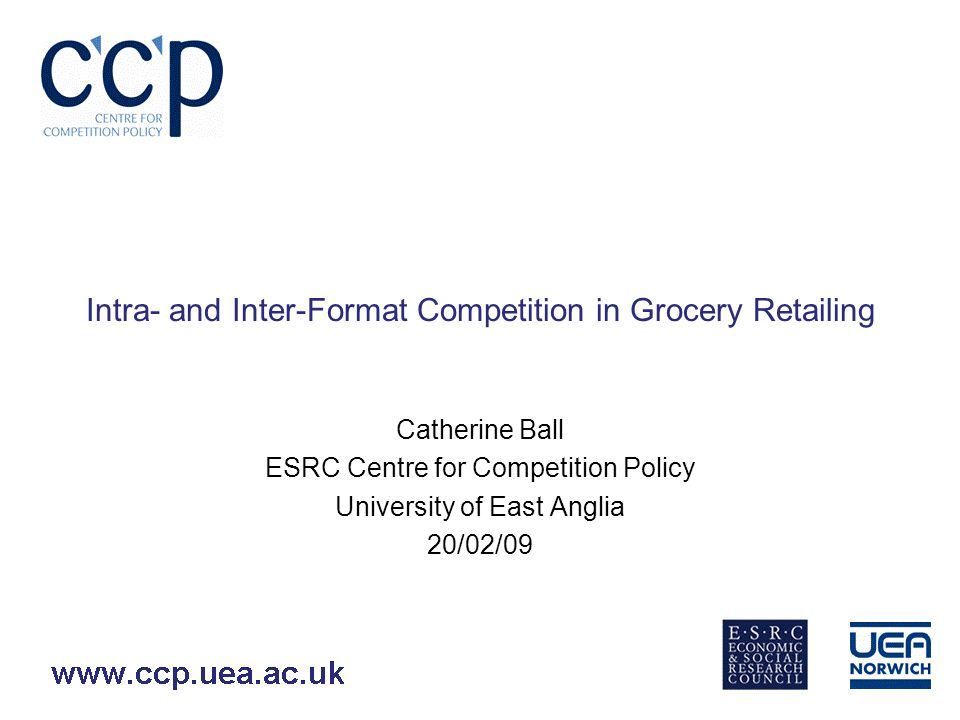 Methodology Multiple-entrant qualitative response model Cross-sectional data Limited to pairwise comparisons –At present limited to comparisons where dependency between firms is only in one direction Eg small supermarkets profits depend on number of large supermarkets but not vice-versa