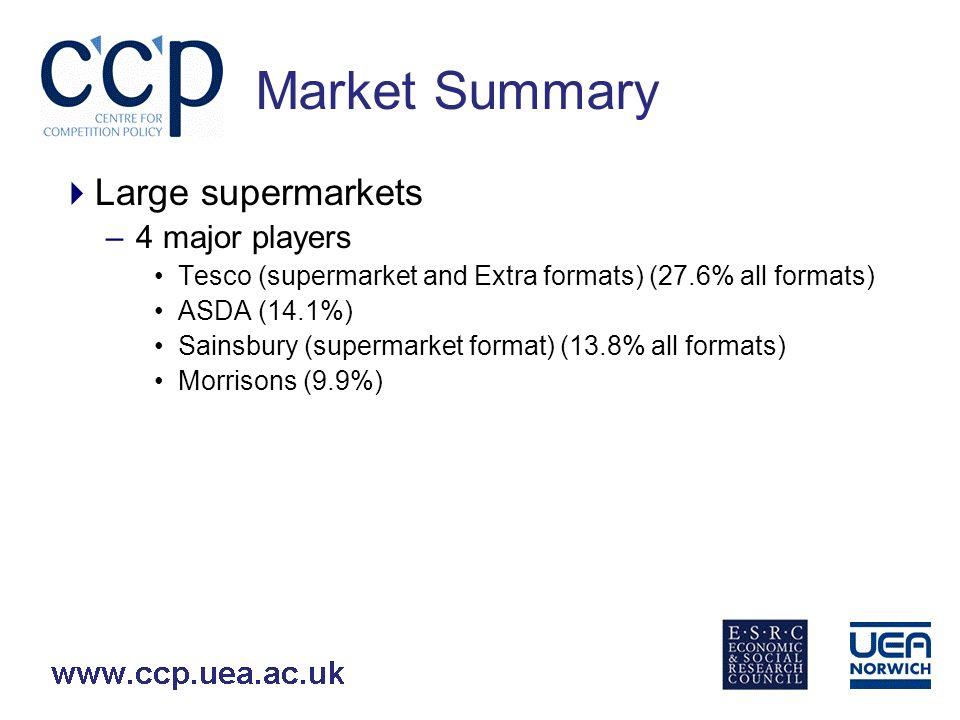 Market Summary Large supermarkets –4 major players Tesco (44,000) ASDA (65,000) Sainsbury (26,000) Morrisons