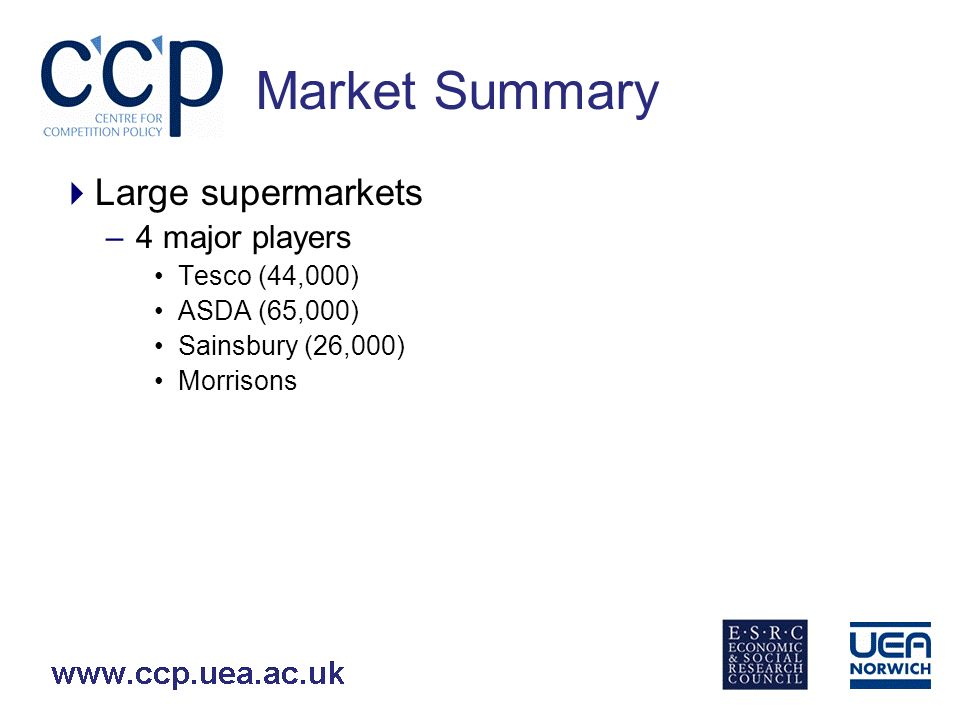 Market Summary Smaller supermarkets/convenience stores –Main players CGL/Somerfield (3.8 and 3.9% respectively 2007) Waitrose (3.3%) M&S (3.8%) Tesco (Express and Metro formats) (27.6% all formats) Sainsbury (Local and Central formats) (13.8% all formats) Budgens Iceland (1.5%) Aldi/Lidl (2.8% combined) Others (15.5%)