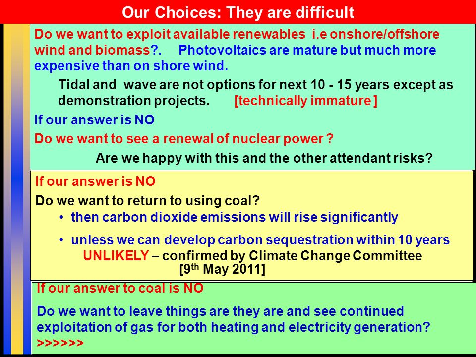 18 Do we want to exploit available renewables i.e onshore/offshore wind and biomass .