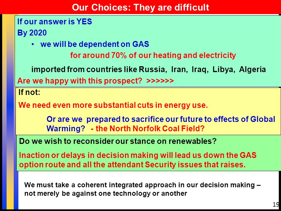 19 Our Choices: They are difficult If our answer is YES By 2020 we will be dependent on GAS for around 70% of our heating and electricity imported from countries like Russia, Iran, Iraq, Libya, Algeria Are we happy with this prospect.