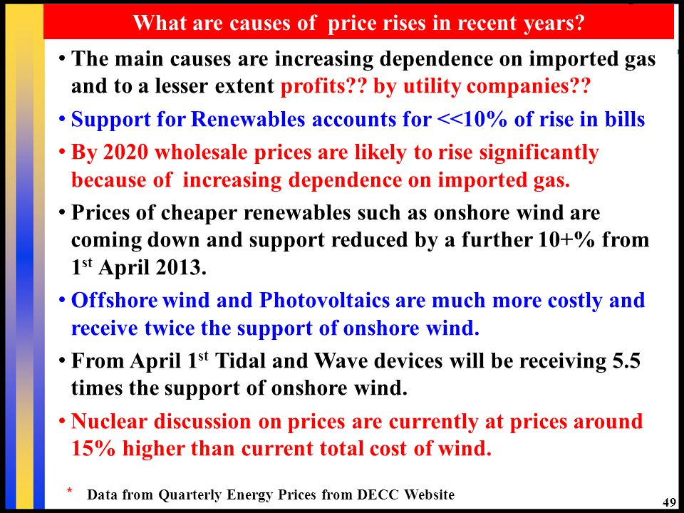 49 What are causes of price rises in recent years.