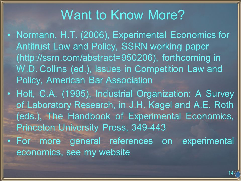 14 Want to Know More. Normann, H.T.
