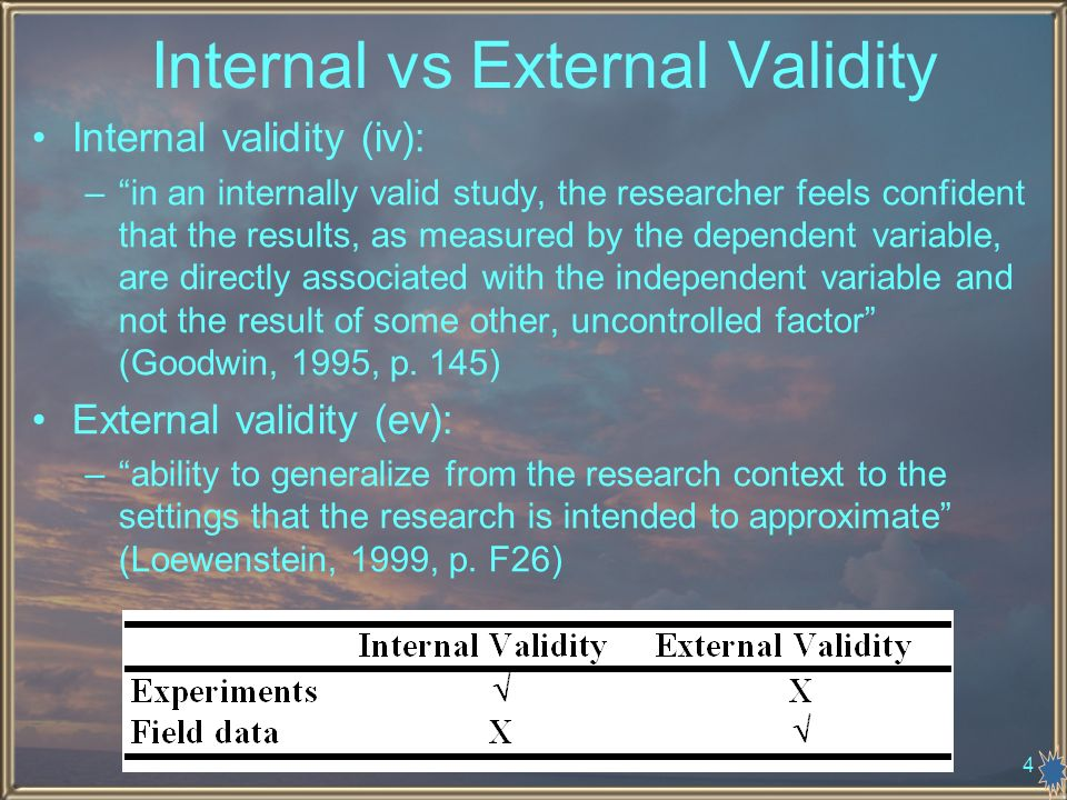 4 Internal vs External Validity Internal validity (iv): –in an internally valid study, the researcher feels confident that the results, as measured by the dependent variable, are directly associated with the independent variable and not the result of some other, uncontrolled factor (Goodwin, 1995, p.