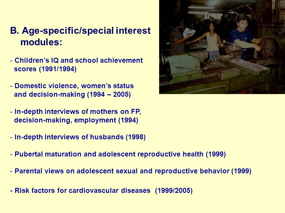 B. Age-specific/special interest modules: - Childrens IQ and school achievement scores (1991/1994) - Domestic violence, womens status and decision-mak