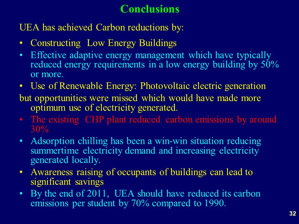 32 Conclusions UEA has achieved Carbon reductions by: Constructing Low Energy Buildings Effective adaptive energy management which have typically reduced energy requirements in a low energy building by 50% or more.