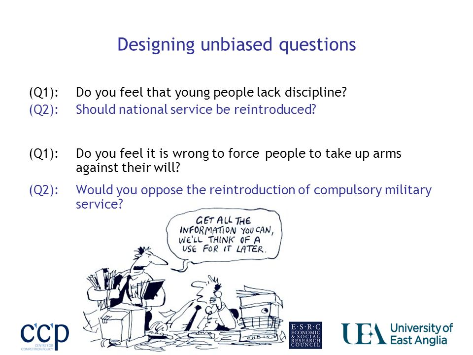 Designing unbiased questions (Q1): Do you feel that young people lack discipline.