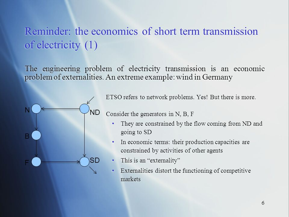 6 Reminder: the economics of short term transmission of electricity (1) The engineering problem of electricity transmission is an economic problem of externalities.
