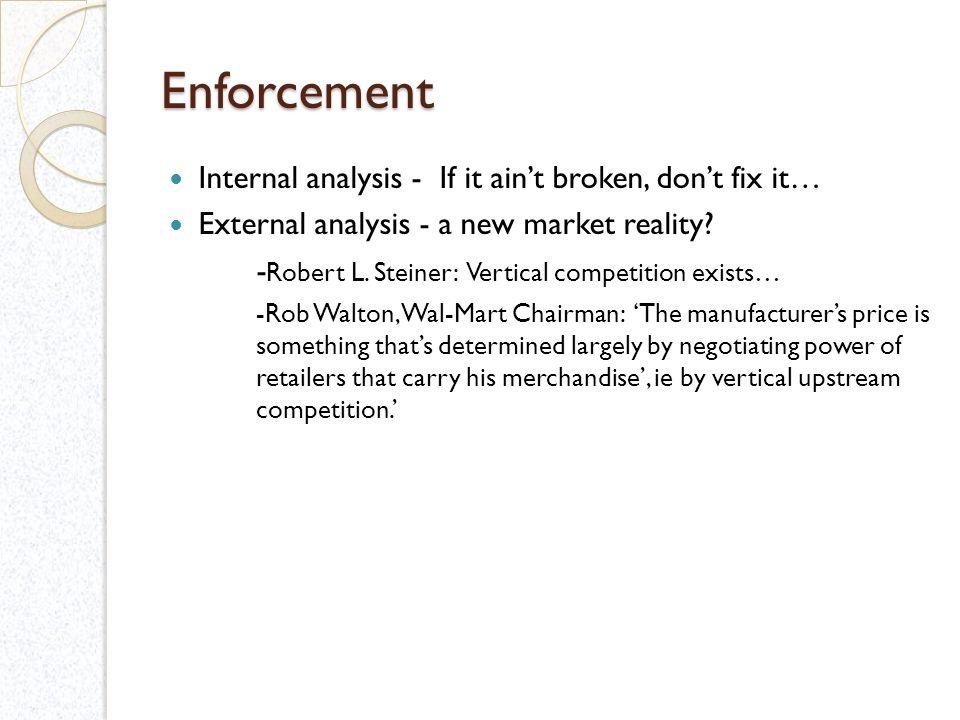 Enforcement Internal analysis - If it aint broken, dont fix it… External analysis - a new market reality.